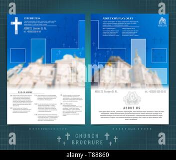 Church Calendar Design.Religion Two Sided Brochure Or Flyer Template Design With Church