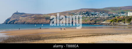 Beach and bay at Port Erin, Isle of Man - Stock Photo