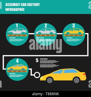 assembly car infographic  assembly line and car factory production process - Stock Photo