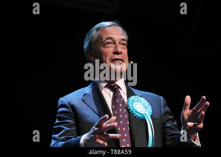 Brexit Party leader Nigel Farage while on the European Election campaign trail in Durham. - Stock Photo