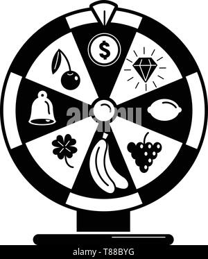 Fruit wheel fortune icon, simple style - Stock Photo