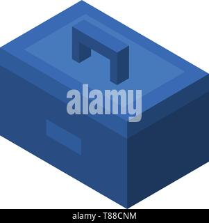 Blue tool box icon, isometric style - Stock Photo