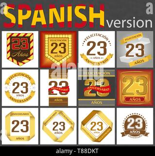 Spanish set of number twenty-three years (23 years) celebration design. Anniversary number template elements for your birthday party. Translated from  - Stock Photo