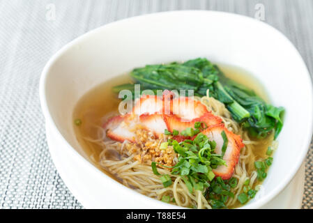 delicious BBQ Pork egg Noodle Thai Chinese Cuisine - Stock Photo