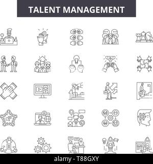 Talent management line icons, signs, vector set, outline concept, linear illustration - Stock Photo