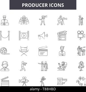 Producer line icons, signs, vector set, linear concept, outline illustration - Stock Photo
