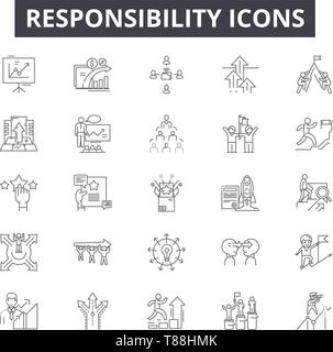 Responsibility line icons, signs, vector set, outline concept, linear illustration - Stock Photo