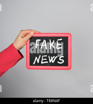 female hand holding red frame with chalk inscription fake news on gray background - Stock Photo