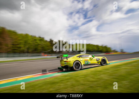 Aston Martin Vantage heads into les Combes chicane. WEC Total 6 Hours of Spa-Francorchamps 2019 - Stock Photo