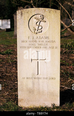 HMS Imelda first world war grave marker. - Stock Photo