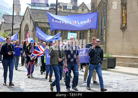 Manchester, UK. 11th May 2019. Around 150 pro Brexit campaigners attending 'March for Democracy' with speakers and a rally in Cathedral Gardens,  Manchester, UK, 11th may, 2019 (C)Barbara Cook/Alamy Live News Credit: Barbara Cook/Alamy Live News - Stock Photo