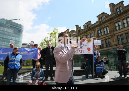 Manchester, UK. 11th May 2019. Steven Woolfe, MEP speaking to pro Brexit campaigners at a rally in Cathedral Gardens,  Manchester, UK, 11th may, 2019 (C)Barbara Cook/Alamy Live News Credit: Barbara Cook/Alamy Live News - Stock Photo