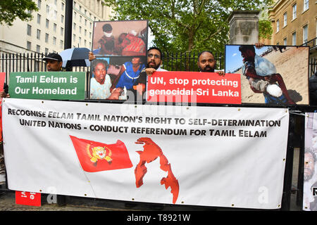London, UK. 11th May 2019. Tamils protestors on hunger strike of the Genocide in Sri Lanka, London, UK Credit: Picture Capital/Alamy Live News - Stock Photo