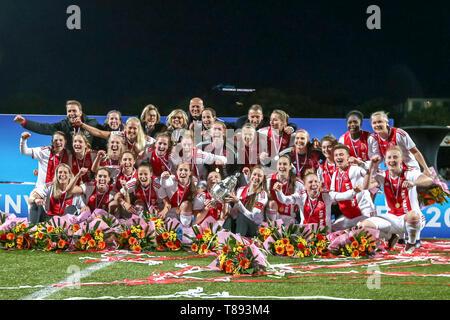 ROTTERDAM, 11-05-2019 ,Woudestein, Eredivisie Women, Ajax Ð PEC Zwolle (women KNVB cupfinal) , season 2018 / 2019,    AJAX CUP WINNER during the match Ajax Ð PEC Zwolle (women KNVB cupfinal) - Stock Photo