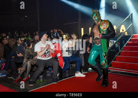 London, UK.  11th May 2019. Laredo Kid arrives for the evening slot at 'The Greatest Show of Lucha Libre' at the Roundhouse in Camden.  Lucha Libre is a unique form of Mexican professional wrestling characterised by colourful masks, elaborate costumes, acrobatic techniques and high-flying manoeuvres in which good battles evil through fierce and spectacular competition.  Credit: Stephen Chung / Alamy Live News - Stock Photo