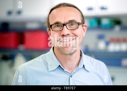 Brunswick, Germany. 30th Apr, 2019. Wulf Menzel, scientific assistant and curator of the collection of plant viruses, stands in a laboratory of the German Collection of Microorganisms and Cell Cultures (DSMZ). Credit: Hauke-Christian Dittrich/dpa/Alamy Live News - Stock Photo