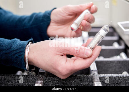 Brunswick, Germany. 30th Apr, 2019. In a cool storage room of the German Collection of Microorganisms and Cell Cultures (DSMZ), an employee is holding two ampoules filled with bacteria in her hands. Credit: Hauke-Christian Dittrich/dpa/Alamy Live News - Stock Photo