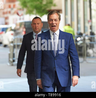 London, UK. 12th May 2019. Nigel Farage, leader of the Brexit Party, arrives at the BBC Broadcasting House, ahead of his appearance on the Andrew Marr Show . Credit: Thomas Bowles/Alamy Live News - Stock Photo