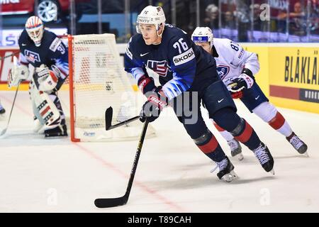 Kosice, Slovakia. 12th May, 2019. Brady Skjei(Front) of USA competes during the 2019 IIHF Ice Hockey World Championship Slovakia group A game between USA and France at Steel Arena on May 12, 2019 in Kosice, Slovakia. Credit: Lukasz Laskowski/Xinhua/Alamy Live News - Stock Photo