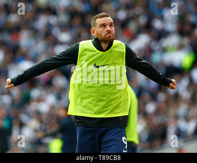 London, UK. 12th May, 2019.  Tottenham Hotspur's Vincent Janssen during English Premier League between Tottenham Hotspur and Everton at Tottenham Hotspur Stadium , London, UK on 12 May 2019   FA Premier League and Football League images are subject to DataCo Licence. Editorial use ONLY. No print sales. No personal use sales. NO UNPAID USE Credit: Action Foto Sport/Alamy Live News - Stock Photo