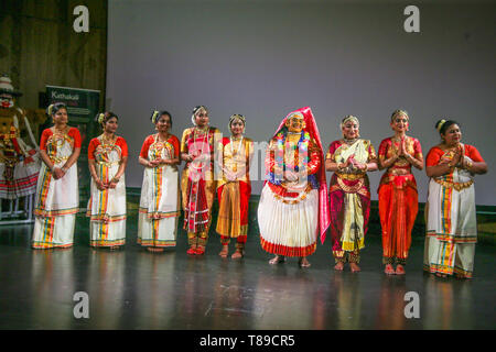London, UK. 12th May, 2019. Welcome to the remarkable world of Kathakali, a 500 year old classical dance drama from Kerala and Bharatanatyam a 2000 year old classical dance from Tamil Nadu. Kathakali and some of the other performers at todays South India event at the A & V museum ,London . Credit: Paul Quezada-Neiman/Alamy Live News - Stock Photo