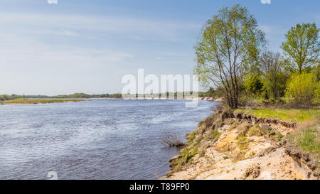 Pripyat river passing the exclusion zone establisehed around the Chernobyl nuclear disaster. Belarus site. - Stock Photo