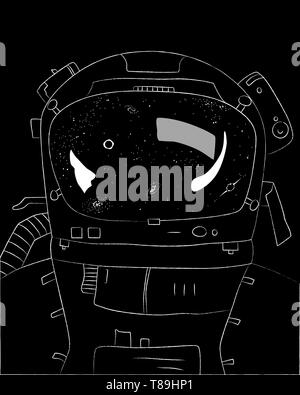 Astronaut on black background, stars and galaxies in reflection, vector illustration - Stock Photo