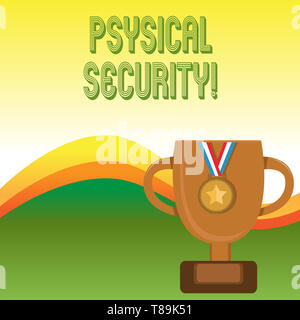 Text sign showing Physical Security. Business photo showcasing designed to deny unauthorized access to facilities - Stock Photo