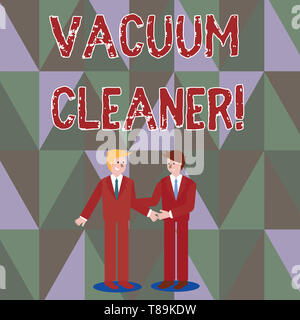 Writing note showing Vacuum Cleaner. Business concept for machine that cleans floors and surfaces by sucking up dust Businessmen Smiling and Greeting  - Stock Photo