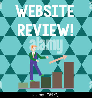 Word writing text Website Review. Business photo showcasing the customer ratings and assessments of businesses or service Smiling Businessman Climbing - Stock Photo
