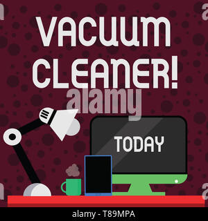 Conceptual hand writing showing Vacuum Cleaner. Concept meaning machine that cleans floors and surfaces by sucking up dust Arrangement for Nightshift  - Stock Photo