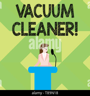 Writing note showing Vacuum Cleaner. Business concept for machine that cleans floors and surfaces by sucking up dust Businesswoman Behind Podium Rostr - Stock Photo