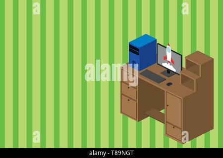 Working desktop station drawers personal computer launching rocket clouds. Design business Empty template isolated Minimalist graphic layout template  - Stock Photo