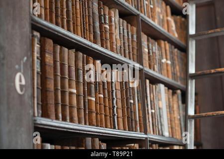 Trinity College Library, Dublin, Ireland - 08/07/2017 : The Long Room at Trinity Library in Trinity College, Dublin, Ireland - Stock Photo