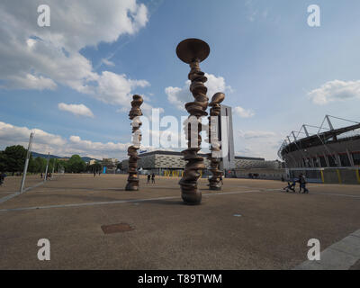 TURIN, ITALY - CIRCA MAY 2019: Punti di vista (meaning Points of view) sculpture by British artist Sir Anthony Douglas Cragg (known as Tony Cragg) - Stock Photo