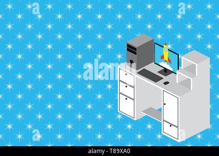 Working desktop station drawers personal computer launching rocket clouds. Design business concept Empty copy text for Web banners promotional materia - Stock Photo