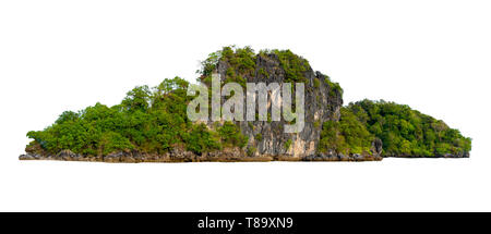 Isolate the island in the middle of the green sea white background separated from the background - Stock Photo