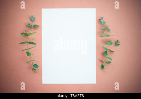 Eucalyptus branches and blank paper sheet with copy space, on rosewood colored canvas with vignette. - Stock Photo