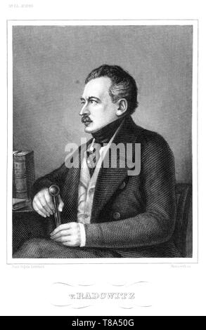 Europa, Deutschland, Berlin, Joseph von Radowitz, preußischer Generalleutnant und Politiker, Stahlstich , gestochen von Metzeroth, um 1850er Jahre .   - Stock Photo