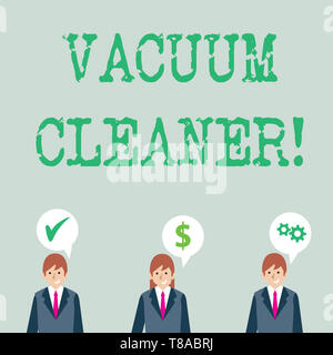 Word writing text Vacuum Cleaner. Business photo showcasing machine that cleans floors and surfaces by sucking up dust Businessmen Each has their Own  - Stock Photo