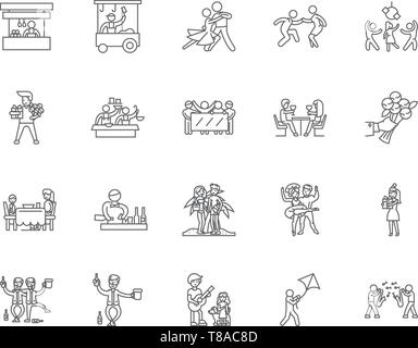 Anniversary line icons, signs, vector set, outline illustration concept  - Stock Photo