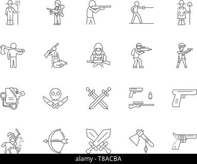 Armed force line icons, signs, vector set, outline illustration concept  - Stock Photo