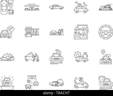 Auto leasing line icons, signs, vector set, outline illustration concept  - Stock Photo