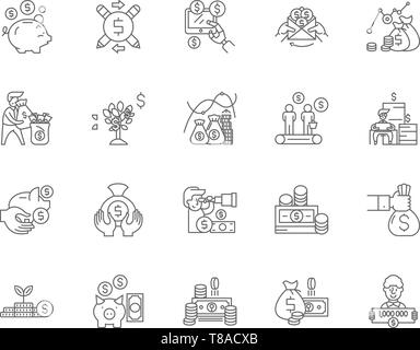 Benefits line icons, signs, vector set, outline illustration concept  - Stock Photo