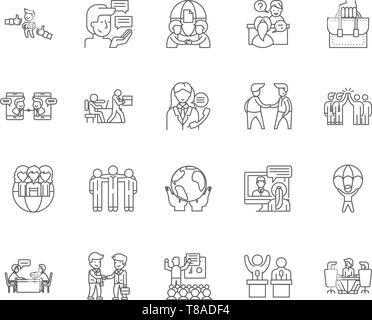 Business ethics line icons, signs, vector set, outline illustration concept  - Stock Photo