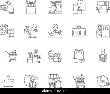 Customer loyality line icons, signs, vector set, outline illustration concept  - Stock Photo