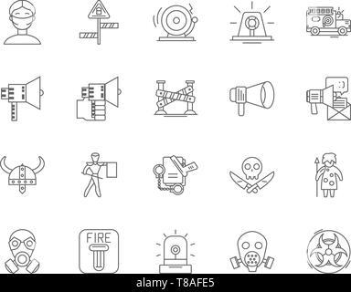 Danger line icons, signs, vector set, outline illustration concept  - Stock Photo