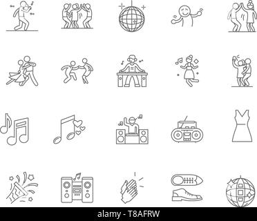 Disco line icons, signs, vector set, outline illustration concept  - Stock Photo