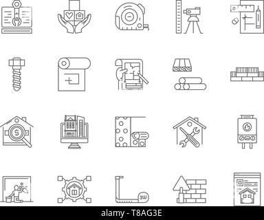 Eaport line icons, signs, vector set, outline illustration concept  - Stock Photo