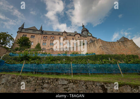 Marburg Castle (Landgrafenschloss) on top Schlossberg in the German city of Marburg - Stock Photo